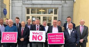 Men of the Week: members of Waterford City and County Council who stood for a group photograph to highlight their support for a No vote in the referendum. Photograph:  Darren Skelton/Waterford News & Star.