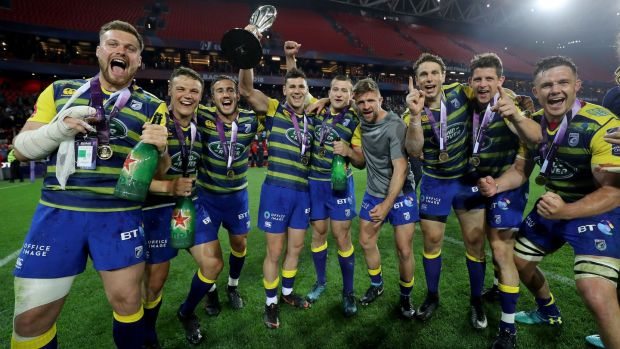 Cardiff celebrate Challenge Cup final victory over Gloucester. Photograph: Dan Sheridan/Inpho