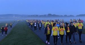 Participants pictured at the annual Darkness Into Light fundraising event in Dublin's Phoenix Park with Pieta House and Electric Ireland. Photograph: Harry Murphy/Sportsfile