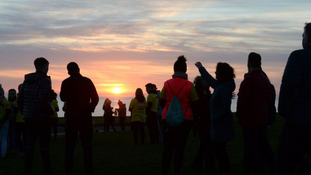 People taking part in Darkness Into Light, in aid of Pieta House, in Skerries, Co Dublin on Saturday morning.Photograph: Dara Mac Dónaill / The Irish Times