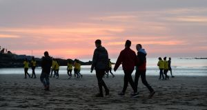 People taking part in Darkness Into Light  in Skerries, Co Dublin. Photograph: Dara Mac Dónaill/The Irish Times