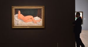 'Nu couché (sur le côté gauche)' by Amedeo Modigliani during a Sotheby's preview of the May Evening Sale of Impressionist and Modern Art, in New York. Photograph: Hector Retamal/AFP/Getty Images