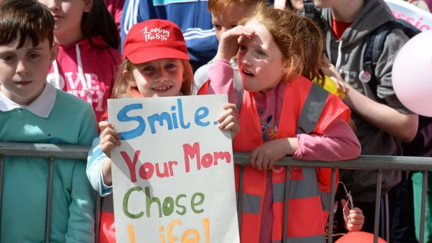 Children in the crowd attending the Love Both rally, in Merrion Square, Dublin. Photograph: Dara Mac Dónaill/The Irish Times