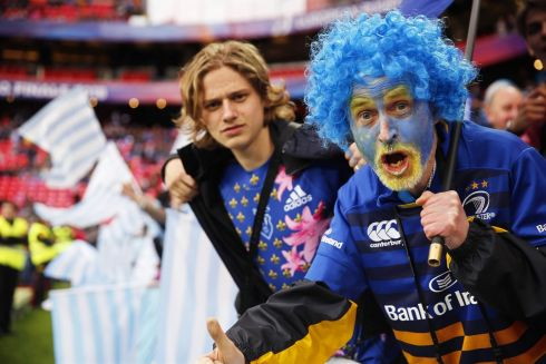 A Leinster fan and a Racing fan go to Bilbao. Photograph: PA
