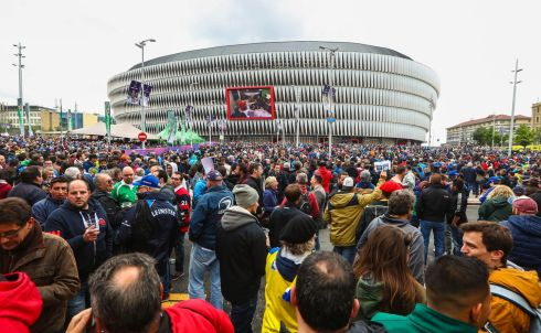 Fans arrive for the game at San Mames Stadium in Bilbao. Photograph: Inpho