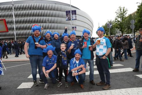 Leinster fans from Balbriggan Rugby Club pose outside of the stadium. Photograph: Inpho