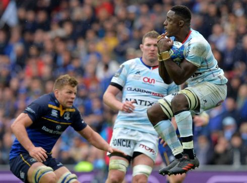 Yannick Nyanga shows his athleticism under the high ball. Photograph: Reuters
