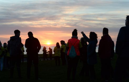 People taking part in Darkness Into Light, in aid of Pieta House, in Skerries, Co. Dublin. They joined 200,000 people in a global movement walking over one million kilometers in a march against suicide, self-harm and the stigma associated with mental health.  Photograph: Dara Mac Donaill / The Irish Times