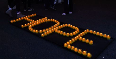 Hope is spelt out in candles at the annual Darkness Into Light fundraising event in Dublins Phoenix Park with Pieta House and Electric Ireland.  Photo by Harry Murphy/Sportsfile