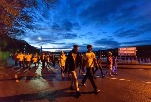 A section of the estimated 1200 participants on the route of the inaugural Kinsale Darkness into Light walk in aid of Pieta House and organised by Kinsale Youth Support Services (KYSS). Picture. John Allen