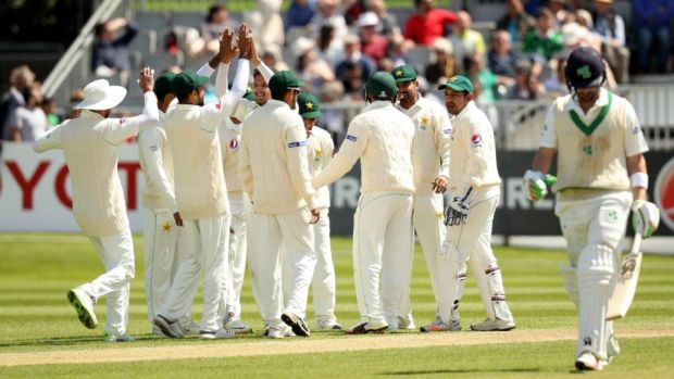 Andrew Balbirnie walks off after being dismissed by Mohammad Abbas. Photograph: Oisin Keniry/Inpho