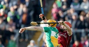 Offaly's Sean Gardiner Galway's Conor Whelan in action at O'Connor Park, Tullamore, Co. Offaly. Photograph: Bryan Keane/Inpho