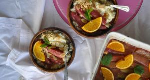 Lilly Higgins's chai rice pudding with orange-blossom roast rhubarb: as reassuringly familiar as it is exotic