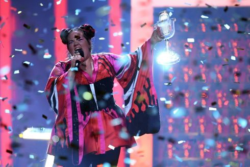 Israel's singer Netta Barzilai aka Netta performs with the trophy after winning the final of the 63rd edition of the Eurovision Song Contest 2018 at the Altice Arena in Lisbon, on May 12, 2018. / AFP PHOTO / Francisco LEONGFRANCISCO LEONG/AFP/Getty Images