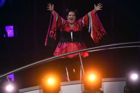 Israel's singer Netta Barzilai aka Netta reacts after winning the final of the 63rd edition of the Eurovision Song Contest 2018 at the Altice Arena in Lisbon / AFP PHOTO / Francisco LEONGFRANCISCO LEONG/AFP/Getty Images