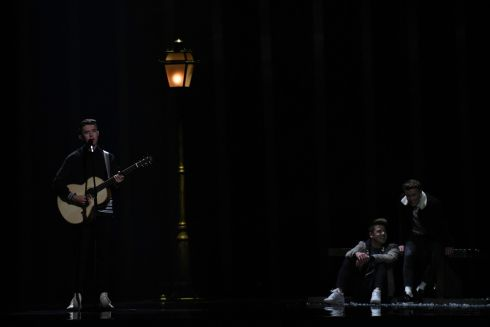 "Ireland's singer-songwriter Ryan O'Shaughnessy performs ""Together"" during the final of the 63rd edition of the Eurovision Song Contest 2018 at the Altice Arena in Lisbon / AFP PHOTO / Francisco LEONGFRANCISCO LEONG/AFP/Getty Images"