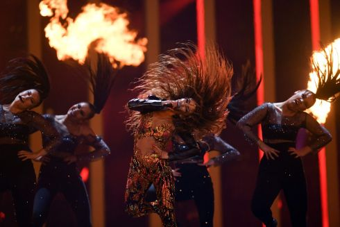 "Cyprus' singer Eleni Foureira performs ""Fuego"" during the final of the 63rd edition of the Eurovision Song Contest 2018 at the Altice Arena in Lisbon./ AFP PHOTO / Francisco LEONGFRANCISCO LEONG/AFP/Getty Images"