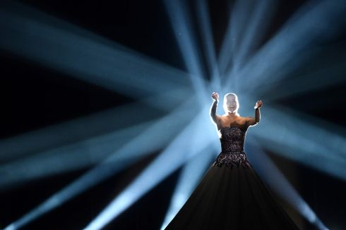"Estonia's soprano singer Elina Nechayeva performs ""La Forza"" during the final of the 63rd edition of the Eurovision Song Contest 2018 at the Altice Arena in Lisbon/ AFP PHOTO / Francisco LEONGFRANCISCO LEONG/AFP/Getty Images"