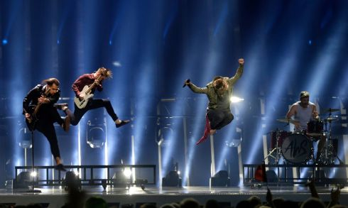 AWS from Hungary performs the song 'Viszlat Nyar' in Lisbon, Portugal, during the Eurovision Song Contest grand final. (AP Photo/Armando Franca)