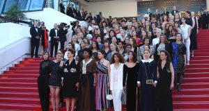 "A total of 82 female film professionals linked arms on the steps of the Palais at Cannes while Cate Blanchett, this year's jury president, read out an impassioned statement. ""Women are not a minority in the world, yet the current state of the industry says otherwise,"" she said. Photograph: Joel C Ryan/Invision/AP"