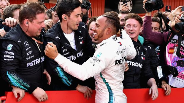 Lewis Hamilton celebrates victory in Barcelona. Photograph: David Ramos/Getty