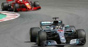 Mercedes' Lewis Hamilton on his way to victory in the Spanish Grand Prix. Photograph: Andreu Dalmau/EPA