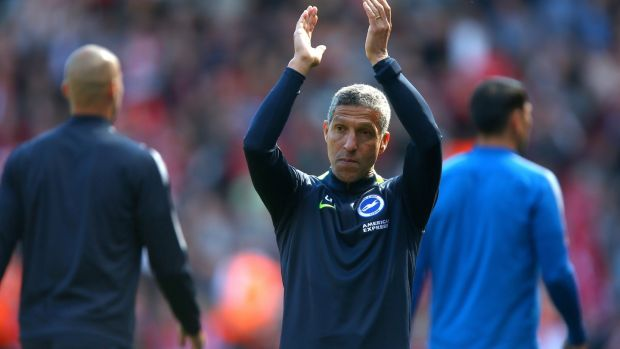 Brighton manager Chris Hughton after his side's 4-0 defeat at Anfield. Photograph: Dave Thompson/PA