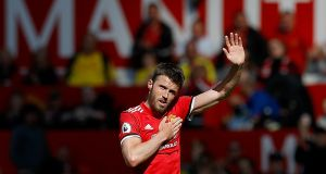 Michael Carrick leaves the pitch after his final appearance for Manchester United. Photograph: Martin Rickett/PA