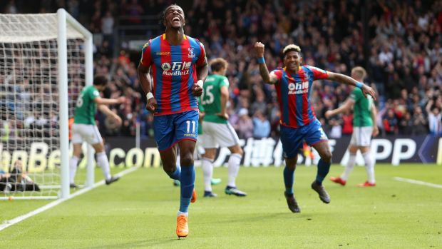 Wilfried Zaha scores Crystal Palace's opener against West Brom