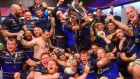 The Leinster squad celebrate in the dressingroom following their victory against Racing in the Champions Cup final    at the San Mames Stadium in Bilbao, Spain. Photograph: Ramsey Cardy/Sportsfile