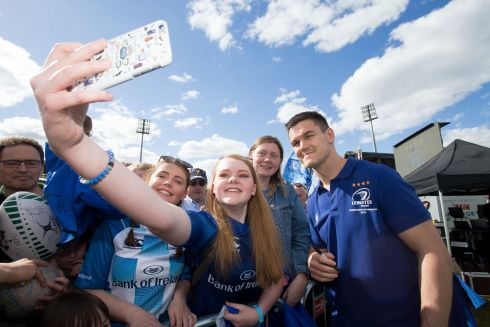 ALL SMILES: Megan Lanigan from Gorey takes a selfie with Johnny Sexton at Leinster's homecoming in Donnybrook after their Champions Cup victory over Racing 92. Photograph: Tom Honan