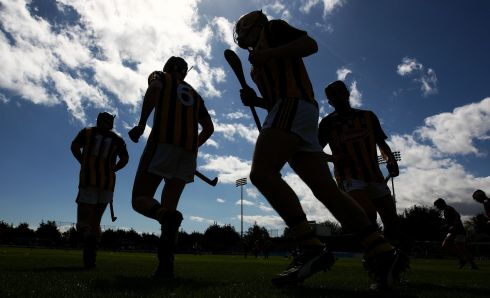 UP AND RUNNING: The Kilkenny minors warm up before their game against Dublin in Parnell Park. Photograph: Donall Farmer/Inpho