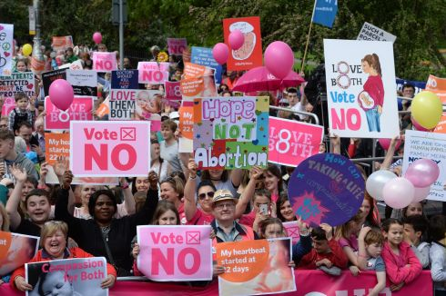 RALLYING CRY: Thousands attend the Love Both rally, in Merrion Square in Dublin, campaigning for the Eighth Amendment to be retained in the upcoming referendum on abortion. Photograph: Dara Mac Donaill/The Irish Times