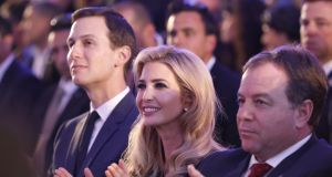 Ivanka Trump and her husband Jared Kushner (left) attend a reception for the US delegation ahead of the move of the US embassy to Jerusalem. Photograph: Abir Sultan/EPA