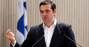 Greek prime minister Alexis Tsipras is scheduled to meet his Macedonian counterpart, Zoran Zaev, on Thursday in Sofia. Photograph: Yiannis Kourtoglou/AFP/Getty Images