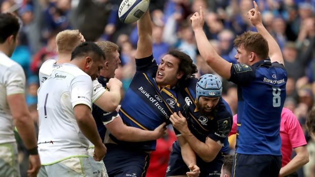 Leinster's James Lowe celebrates his try against Saracens at the Aviva Stadium. Photograph: Tommy Dickson/Inpho