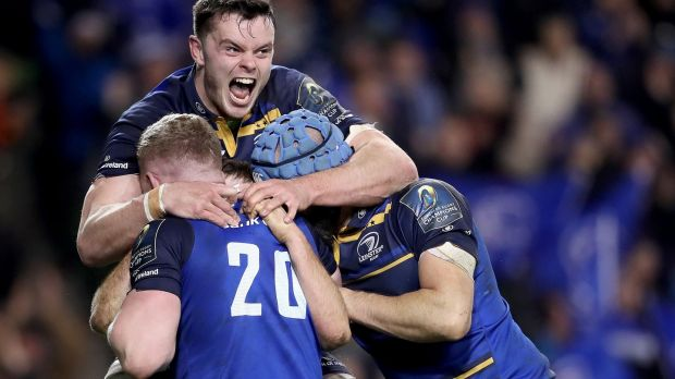 Leinster's Luke McGrath celebrates scoring a try with Dan Leavy, Scott Fardy and James Ryan in their victory over Exeter Chiefs at the Aviva Stadium. Photograph: Dan Sheridan/Inpho