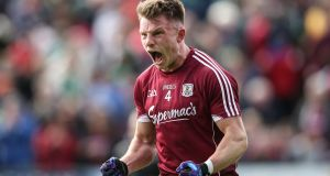 Final whistle: Galway's Eoghan Kerin celebrates his side's victory over Mayo. Photograph: Cathal Noonan/Inpho