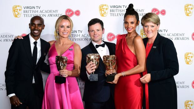 Declan Donnelly, Alesha Dixon and Amanda Holden collect the award for Best Entertainment programme for 'Britain's Got Talent' from Sir Mo Farah and Clare Balding in the press room at the awards. Photograph: Ian West/PA