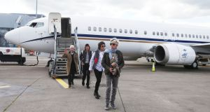 Keith Richards, Ronnie Wood, Mick Jagger and Charlie Watts from The Rolling Stones  arrive in Dublin Airport on Saturday. Photograph: Leon Farrell/Photocall Ireland