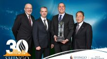Shingo Institute executive director Ken Snyder, AbbVie Ballytivnan operations manager Niall Kerlin, AbbVie Ballytivnan site director Joe Kumor and Institute of Management Improvement president Ritsuo Shingo.