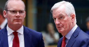 European Union's chief Brexit negotiator Michel Barnier and Minister for Foreign Affairs  Simon Coveney attend an EU's general affairs council in Brussels, Belgium on Monday. Photograph: Reuters/Francois Lenoir