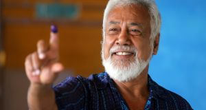 Xanana Gusmão shows his ink-stained finger after voting in the capital, Dili, in Timor-Leste's general election on Saturday. Photograph: Lirio Da Fonseca/Reuters