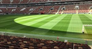 The Luzhniki Stadium in Moscow, where Irish company SIS has installed the pitch for the much-anticipated 2018 Fifa World Cup Final in Russia.