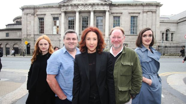 At the announcement of the programme at the Gate Theatre until Christmas 2018 was the theatre's director Selina Cartmell with cast members from the four productions highlighted at the event. Kate Gilmore (Assassins), Simon Delaney (The Snapper), Selina Cartmell (Gate Theatre Director), Owen Roe (Hamlet) and Aoibheann McCann (The Great Gatsby). Photograph: Leon Farrell/Photocall Ireland