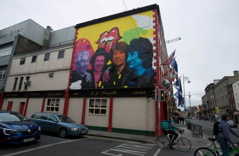 LARGER THAN LIFE: A mural of the Rolling Stones carried out by members of Subset, ahead of the veteran group's concert this week in Croke Park, on the wall of JJ Smyths pub on Aungier Street, Dublin. Photograph: Gareth Chaney/Collins