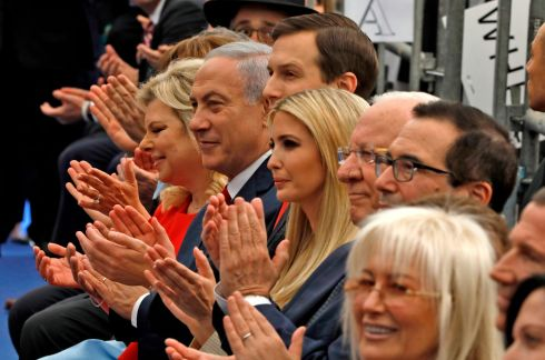 US EMBASSY MOVES: The opening of the US embassy in Jerusalem is attended by Israeli prime minister Binyamin Netanyahu 's wife Sara (in red, at left), Mr Netanyahu, White House adviser Jared Kushner (partially obscured), the US president's daughter Ivanka Trump, US ambassador to Israel David Friedman and US treasury secretary Steve Mnuchin (right). Photograph: Menahem Kahana/AFP/Getty Images