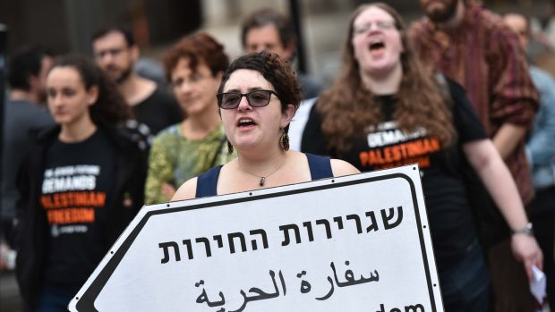 Demonstrators take part in a protest outside of the Trump International Hotel in Washington, DC, against the opening of the US embassy in Jerusalem on Monday. Photograph: Mandel Ngan/AFP/Getty Images