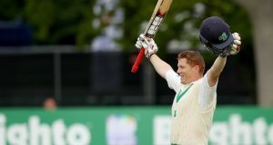 Ireland's Kevin O'Brien celebrates his century. Photograph: Oisin Keniry/Inpho