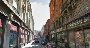 Dublin City Council wanted to refurbish Sackville Place and Cathedral Street, which link O'Connell Street to the new cross-city Luas line on Marlborough Street. Image: Google Maps